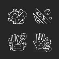 infektiöse Bioabfallkreide weiße Symbole auf schwarzem Hintergrund. Pflanzenpathogene. medizinischer Abfall, der infizierte Flüssigkeiten enthält. Bakterien und Viren. isolierte tafel Vektorgrafiken vektor