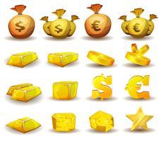 Guldkredit, pengar, mynt inställda för spelgränssnitt vektor