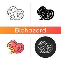 Parasiten-Symbol. Infektionsträger. giftiger Wurm. übertragene Krankheit. gefährliche Mikroorganismen in Fleisch und Lebensmitteln. lineare Schwarz- und RGB-Farbstile. isolierte vektorillustrationen vektor