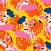 Nahtloses Musterdesign des Sommers mit Frau auf dem Schwimmen