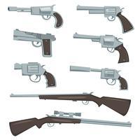 Tecknadvapen, revolver och gevärsuppsättning vektor