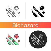 scharfes Symbol. medizinische Nadeln, die mit infiziertem Blut oder Flüssigkeit bedeckt sind. Verbreitung von Krankheiten durch biomedizinischen Abfall. lineare Schwarz- und RGB-Farbstile. isolierte vektorillustrationen vektor