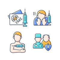 Impfstoff-Impfung rgb-Farbsymbole gesetzt. gefälschter geimpfter Reisepass. Angst vor der Nadel. Prioritätenliste. Gesundheitswesen und Medizin. klinische Behandlung. isolierte vektorillustrationen vektor