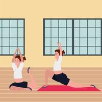 Schönheitsmädchenpaar, das Pilates-Position in der Turnhalle übt vektor