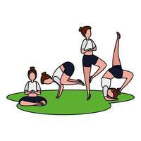 Schönheitsmädchengruppe, die Pilates im Gras übt vektor