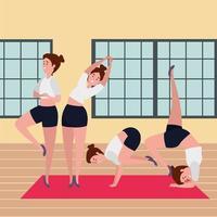 Schönheitsmädchengruppe übt Pilates-Position im Fitnessstudio vektor