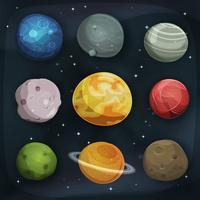 komiska planeter som är inställda på rymdbakgrund