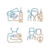 lineare Vektorsymbole für die Impfung des Impfstoffs gesetzt. gefälschter geimpfter Reisepass. Angst vor der Nadel. dünne Linie Kontursymbole bündeln. isolierte Vektor-Umriss-Illustrationen-Sammlung vektor