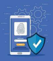 Fingerabdruck im Smartphone mit Schild vektor