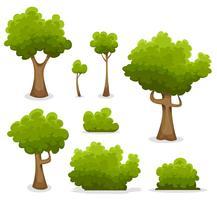 Skogsträd, häckar och Bush Set vektor