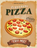 Grunge und Weinlese-Pepperoni-Pizza-Plakat