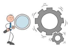 Strichmännchen-Geschäftsmann-Charakter, der eine Lupe hält und sich drehende Zahnräder Vektor-Cartoon-Illustration betrachtet vektor