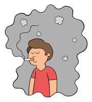 Cartoon-Mann raucht und ist in seiner eigenen Zigarettenrauch-Vektorillustration gefangen caught vektor