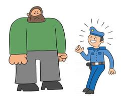 Cartoon-Polizist Angst vor der großen Mann-Vektor-Illustration vektor