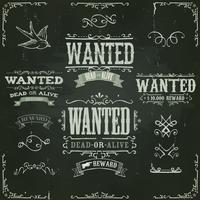Wanted Vintage Western Banner auf Tafel vektor