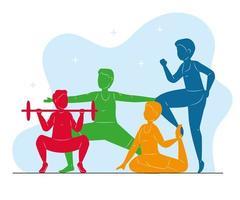 Fitness Silhouetten Farben vektor