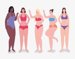 fünf weibliche Charaktere vektor