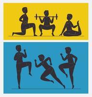 sechs Fitness-Silhouetten vektor