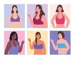 sechs weibliche Charaktere vektor