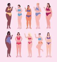 zehn weibliche Charaktere vektor