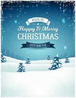 Vintage jullandskap bakgrund vektor
