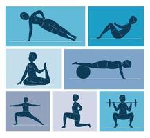 sieben Fitness-Silhouetten vektor