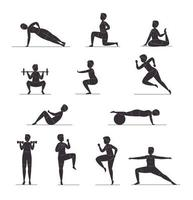 zwölf Fitness-Silhouetten vektor