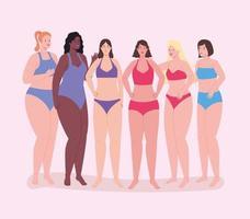 sechs Mädchenfiguren vektor