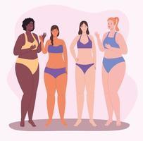 vier Mädchenfiguren vektor