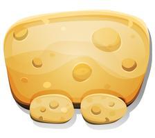 Tecknad ostskylt för Ui-spel vektor