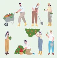 Bauerngruppe, die Avatare kultiviert vektor