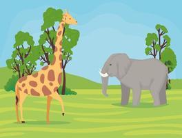 Giraffen und Elefanten afrikanische Tiere wild im Camp vektor