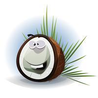 tecknad film roligt kokosnöt karaktär vektor