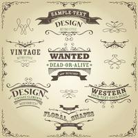 Handgezeichnete Western Banner und Bänder