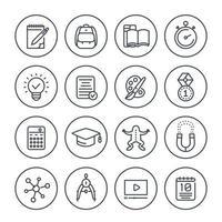 Schule, Bildung, Lernen Liniensymbole auf weiß gesetzt vektor