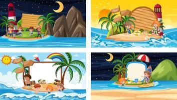 Satz von verschiedenen tropischen Strandszenen mit leerem Banner vektor