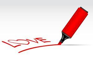 highlighter penna writting kärlek vektor