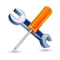 Schraubendreher mit Schraubenschlüssel vektor