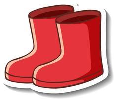 eine Aufklebervorlage mit roten Stiefeln isoliert vektor