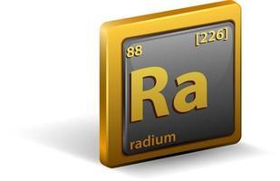 chemisches Radiumelement. chemisches Symbol mit Ordnungszahl und Atommasse. vektor