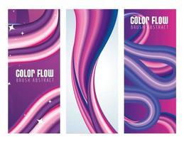 dreifarbige Flow-Poster mit lila und weißem Hintergrund vektor