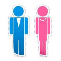 Manliga och kvinnliga klistermärken