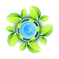 Grüne Blätter, die Eco-Symbol zeigen