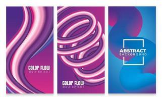 drei farbige Flow-Poster mit blauem und violettem Hintergrund vektor
