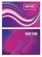 lila Farbflussposter mit Schriftzügen auf lila Hintergrund vektor