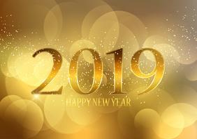 Golden Happy New Year bakgrund vektor