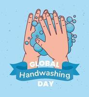 globaler Tag des Händewaschens und Händewaschen mit Seifenblasen-Vektordesign vektor