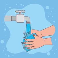 Händewaschen mit Wasserhahn und Seifenstück-Vektordesign vektor