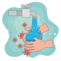 Covid-19-Virus beim Händewaschen und Wasserhahn-Vektordesign vektor