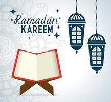 Ramadan Kareem Poster mit Laternen hängen und Koran vektor